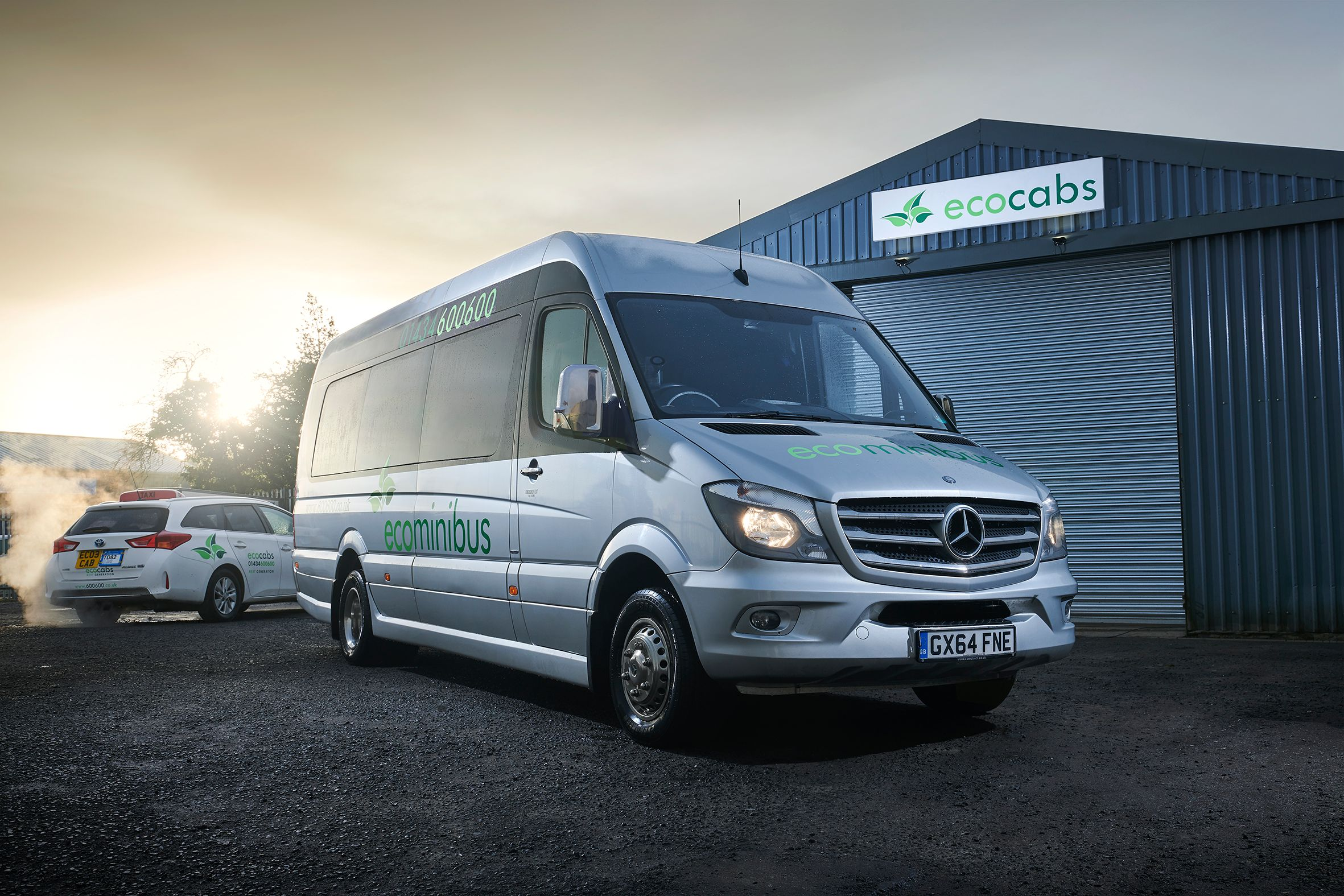Ecocabs silver people carrier at Hexham Head Office
